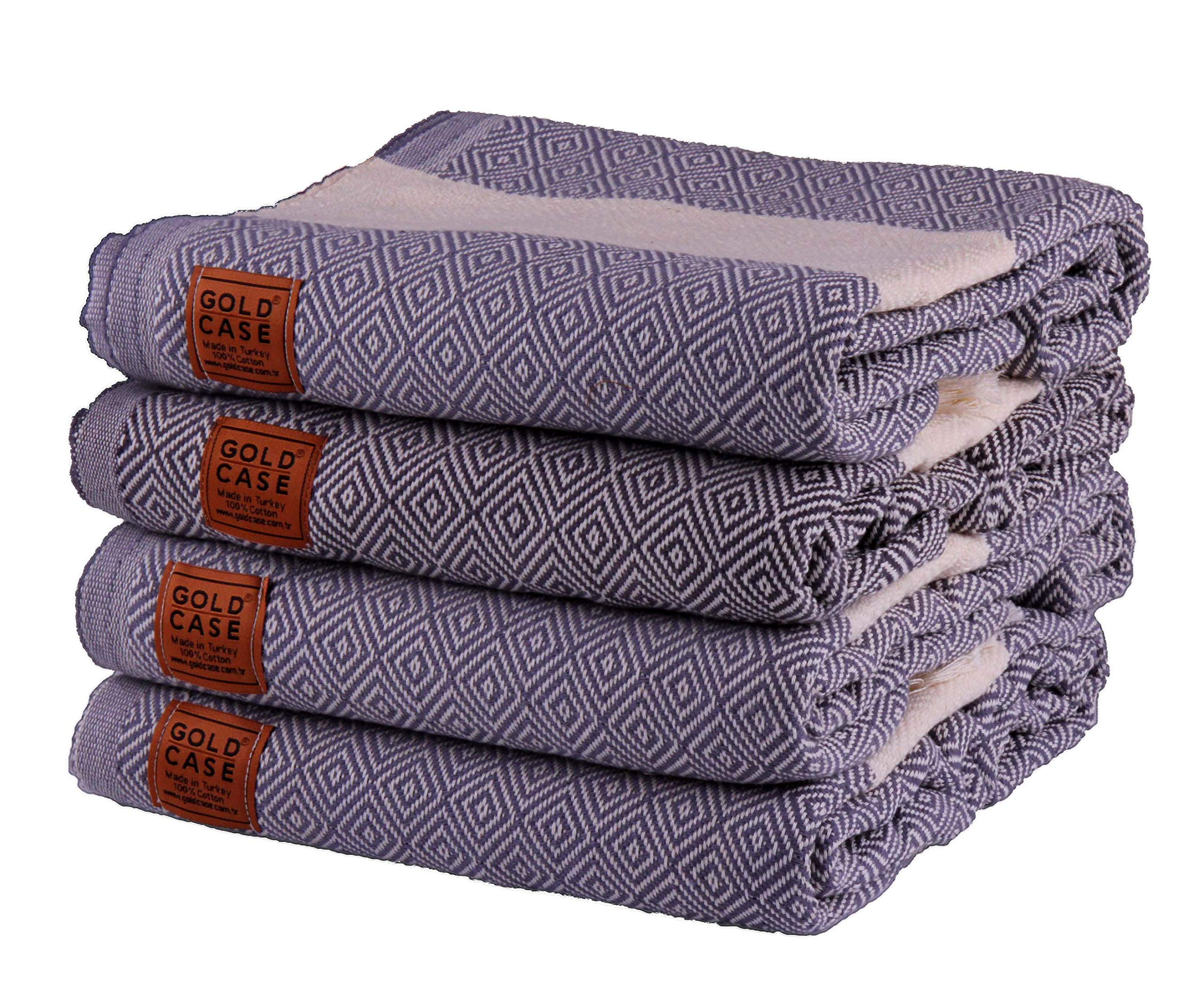 Gold Case Set of 4 XXL and Thick Hermes Turkish Cotton Bath Beach Hammam Towels Peshtemal Towel Throw Blanket (Smoke)