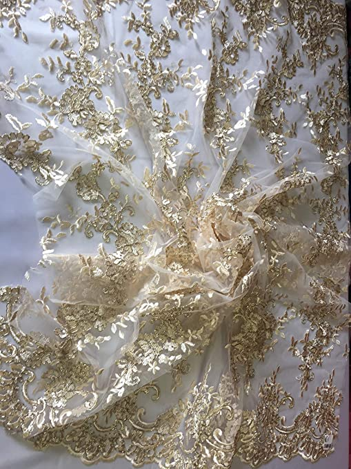 Flower Mesh Dress Champagne For Embroidery Bridal Veil By The yard Lace Fabric