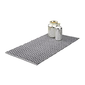 Teppich läufer schwarz weiß  Relaxdays Teppich Läufer Flur 70 x 140 cm, Handmade, Designer ...