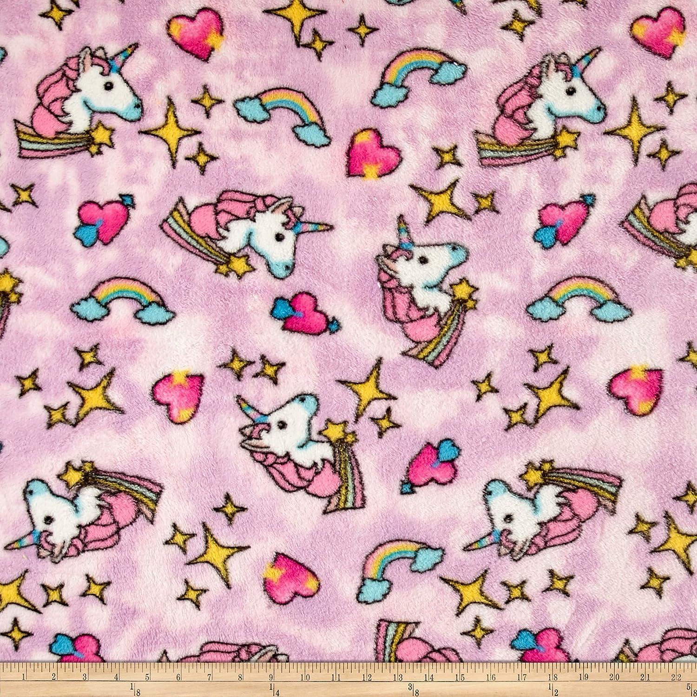 Newcastle Fabrics Whisper Plush Fleece Unicorn Cool Pink Yard 0463204