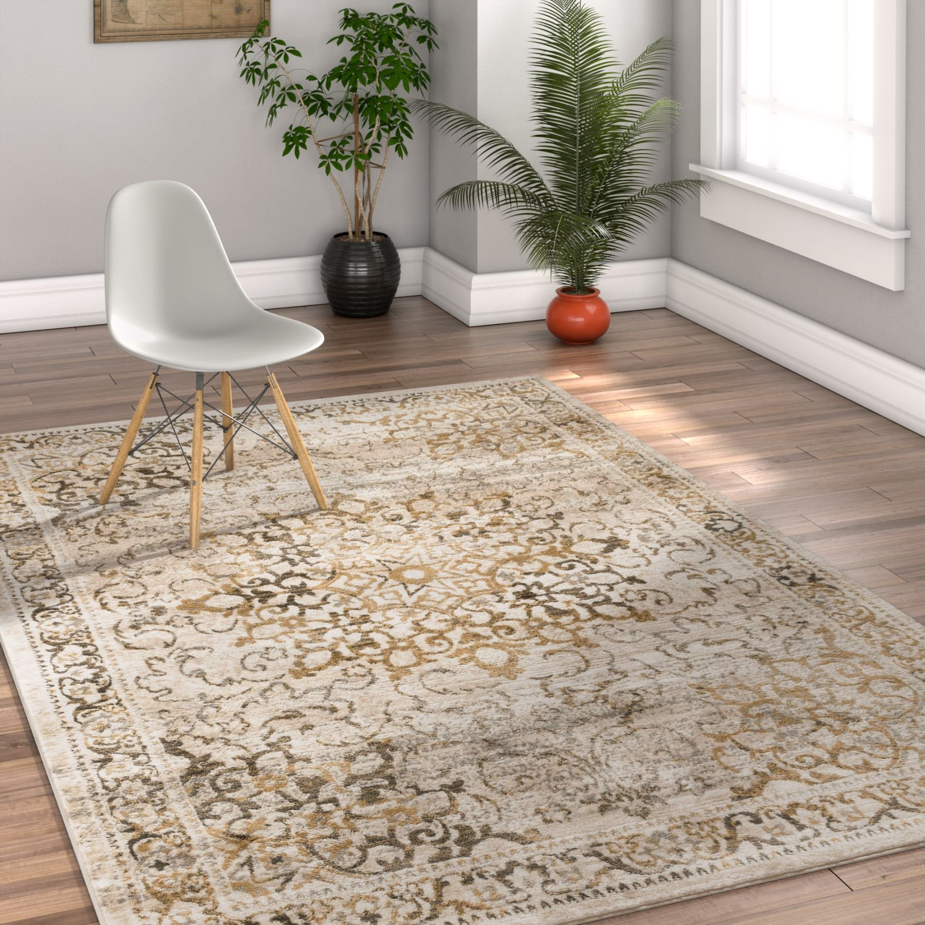 Coverly Gold & Beige Vintage Medallion Traditional Persian Oriental 8x10 ( 7'10'' x 9'10'' ) Area Rug Neutral Modern Shabby Chic Thick Soft Plush Shed Free