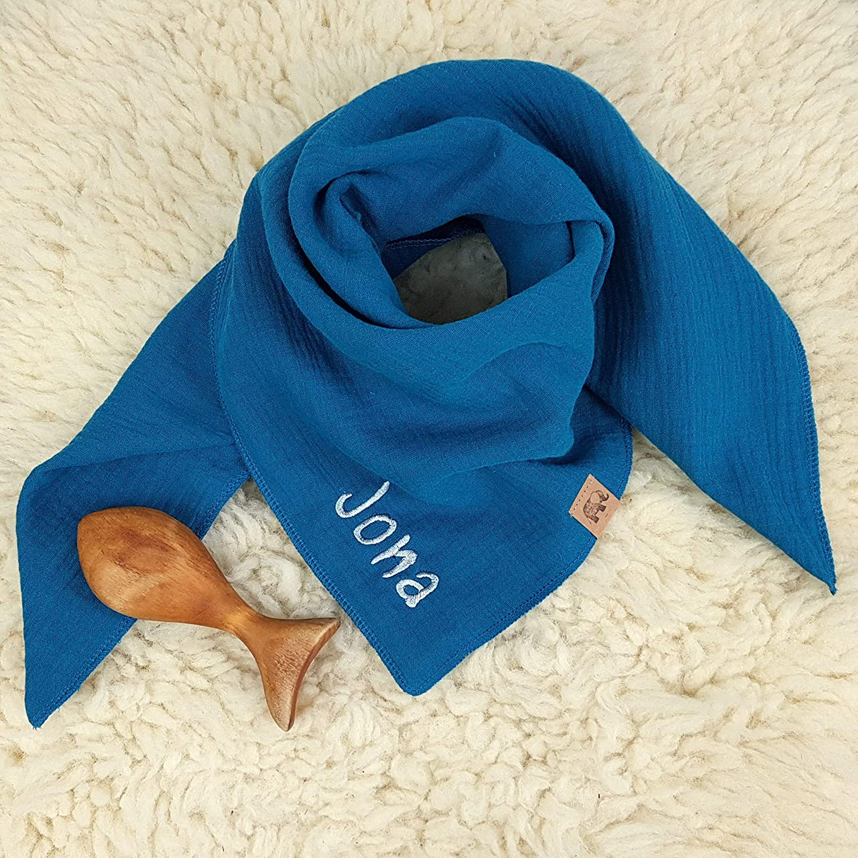 Halstuch blau hellblau himmelblau Musselin Kinder Baby personalisiert mit Namen bestickt Tuch