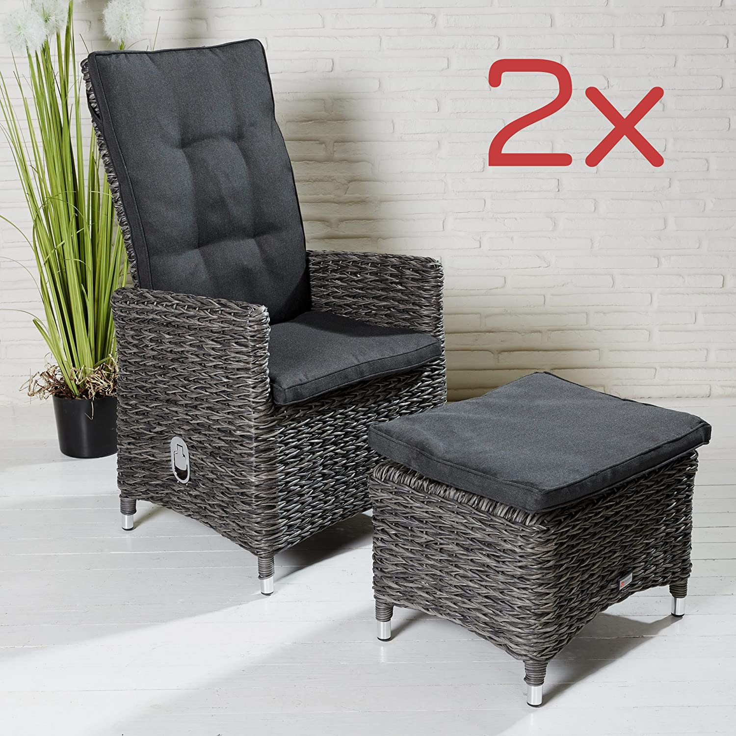2x set poly rattan gartenstuhl gartensessel stuhl grau mit hocker fu bank sessel g nstig online. Black Bedroom Furniture Sets. Home Design Ideas