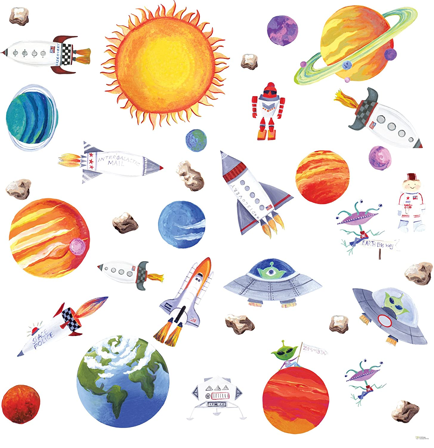 Attractive RoomMates Repositionable Childrens Wall Stickers Outer Space: Amazon.co.uk:  Kitchen U0026 Home Part 30