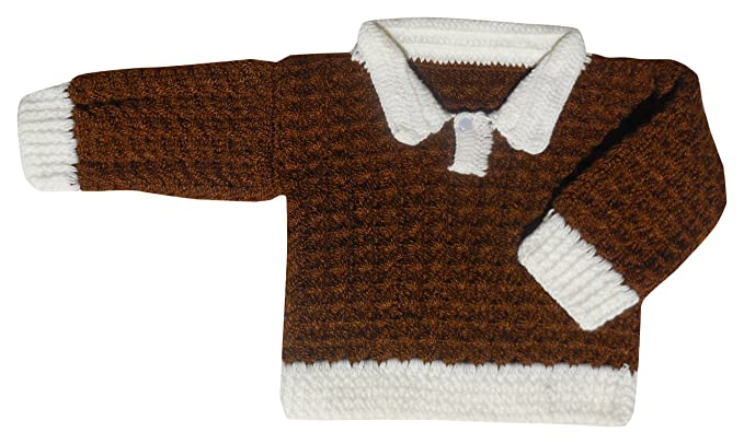 Sr Handicrafts Baby Boys Woollen Sweater Sh006 1 2 Years Brown