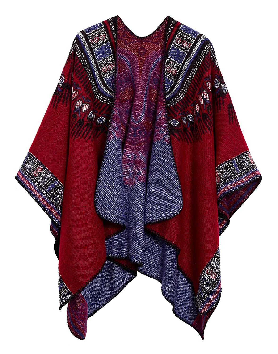 Women's Vintage Pattern Printed Winter Poncho Cape Shawl (Series 2-Grey) RS1902GY