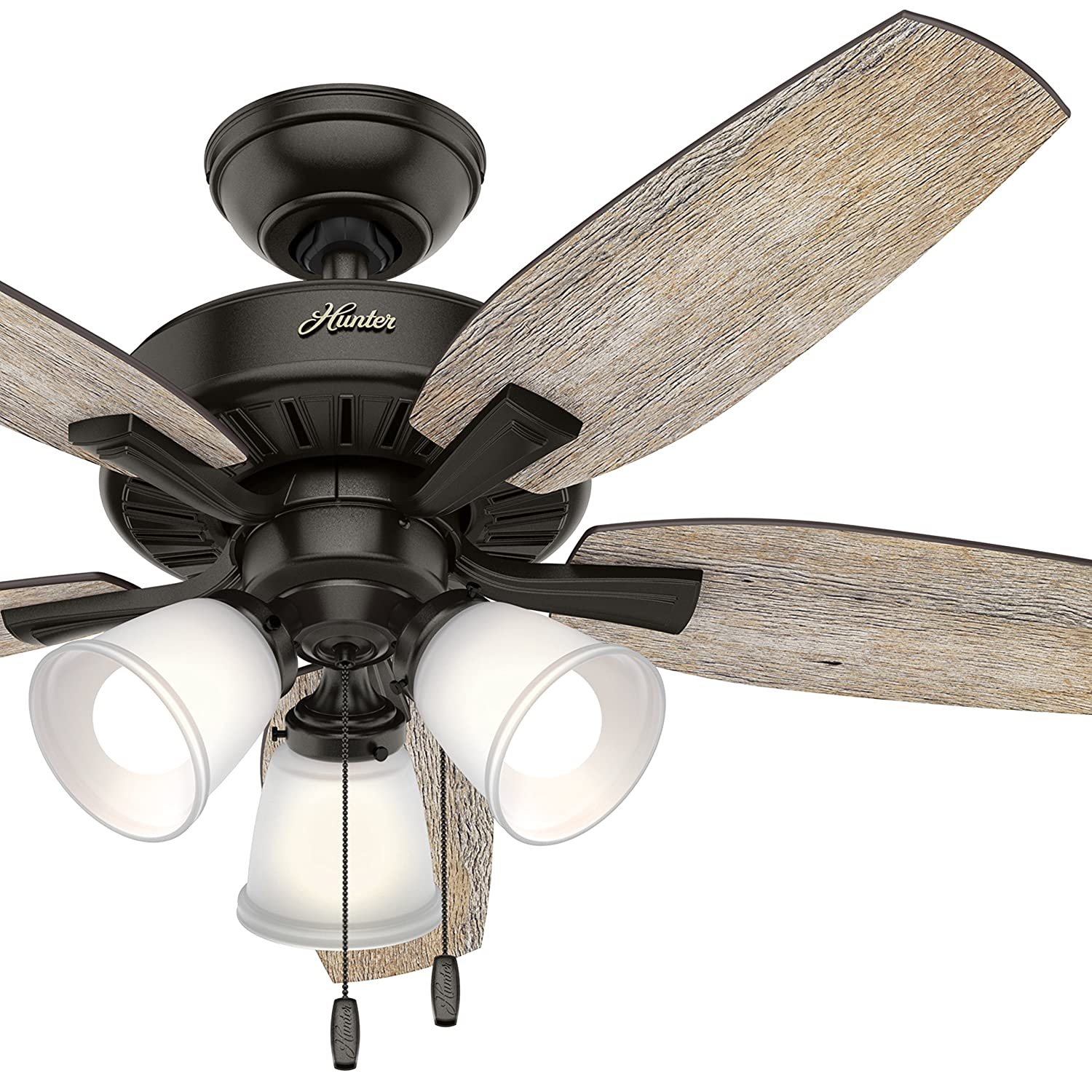 Hunter 48 in. Noble Bronze Ceiling Fan with 3 LED Lights and 5 Barnwood Blades (Certified Refurbished) Hunter Fan Company