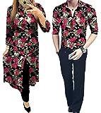 Radhe Digital Print Couple Men's Full Sleeved Digital Print Unstitched Shirt and Women's Unstitched 5 m Kurti -Pair of 2 Pieces (Multicolour, Free Size)
