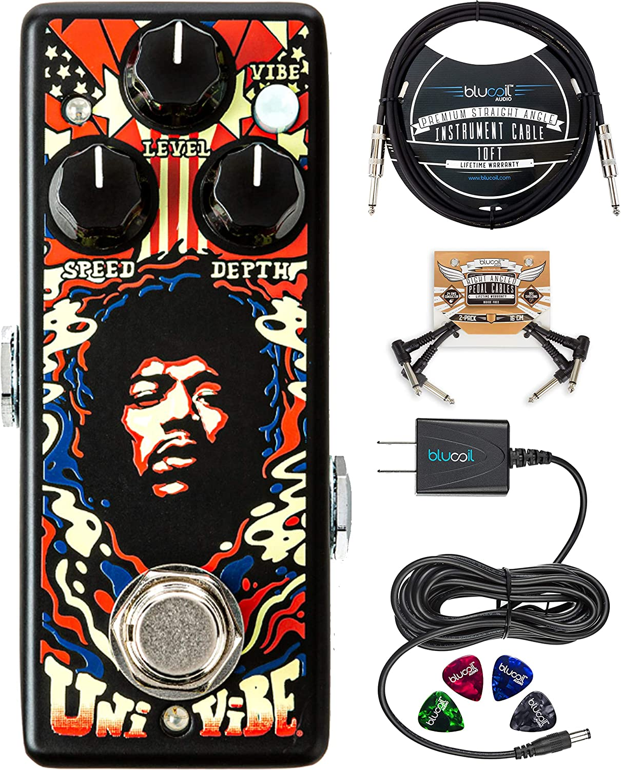 MXR JHW3 Authentic Hendrix '69 Psych Series Uni-Vibe Chorus Vibrato Pedal Bundle with Blucoil 9V Power Supply AC Adapter, 10-FT Straight Instrument Cable (1/4in), 2x Patch Cables, and 4x Guitar Picks