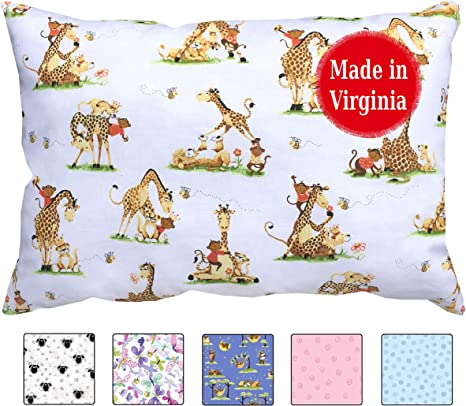 Toddler Pillowcase Best Buddies Fits 13x18 Pillows Made in Virginia by A Little Pillow Company 100/% Cotton Percale Cute Designs Envelope Style
