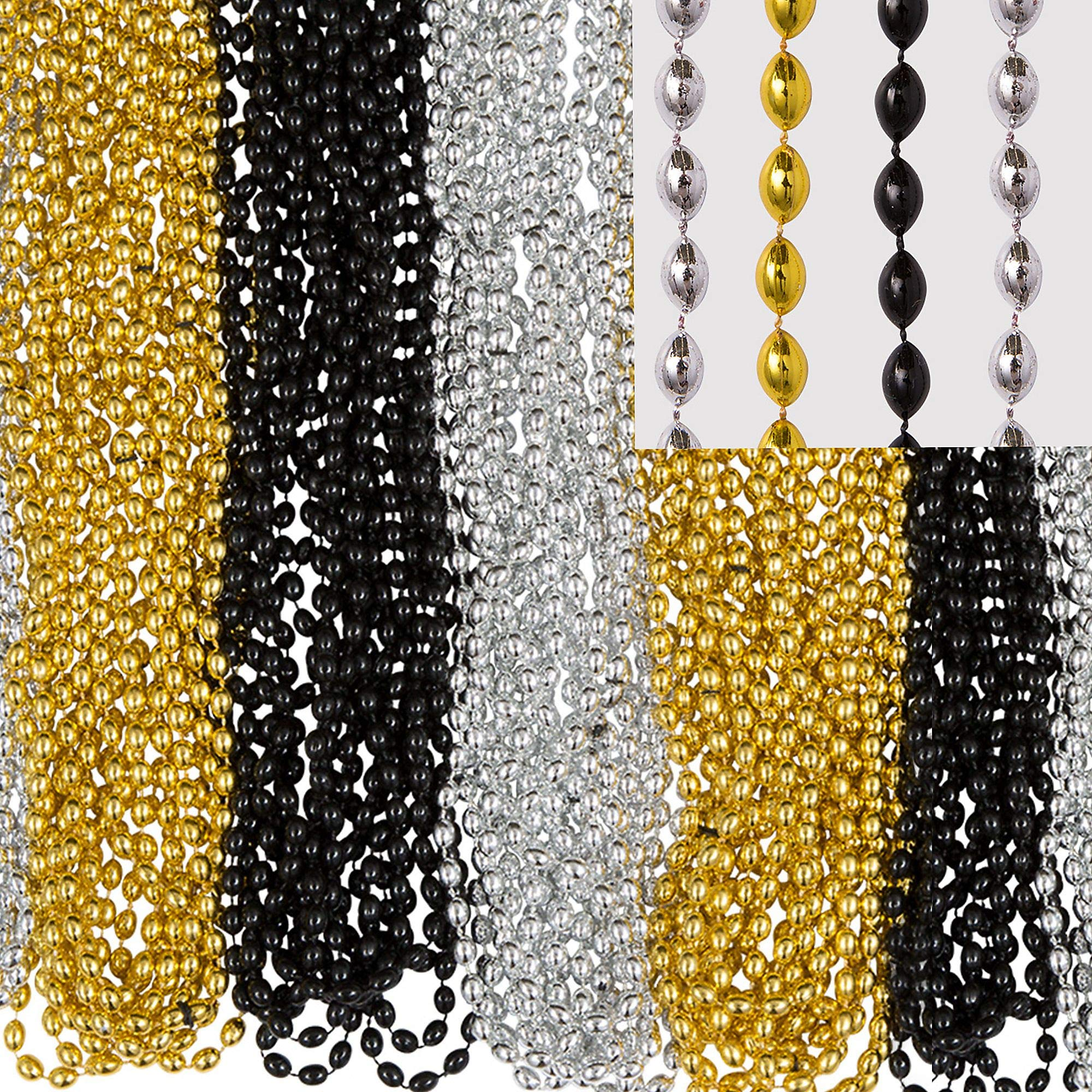 Amscan Bead Necklace, Party Accessory,  Black, Silver, Gold