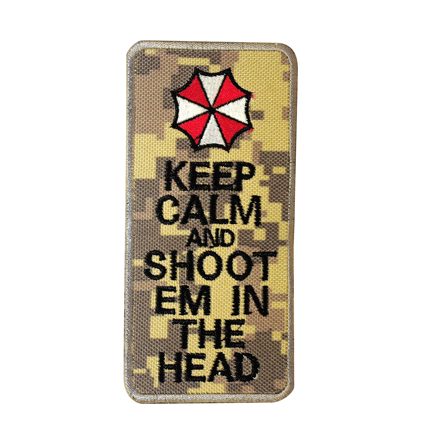 Cobra Tactical Solutions Besticktes Patch Keep Calm & Shoot Em In The Head with Hook & Loop for Cosplay/Airsoft / Paintball