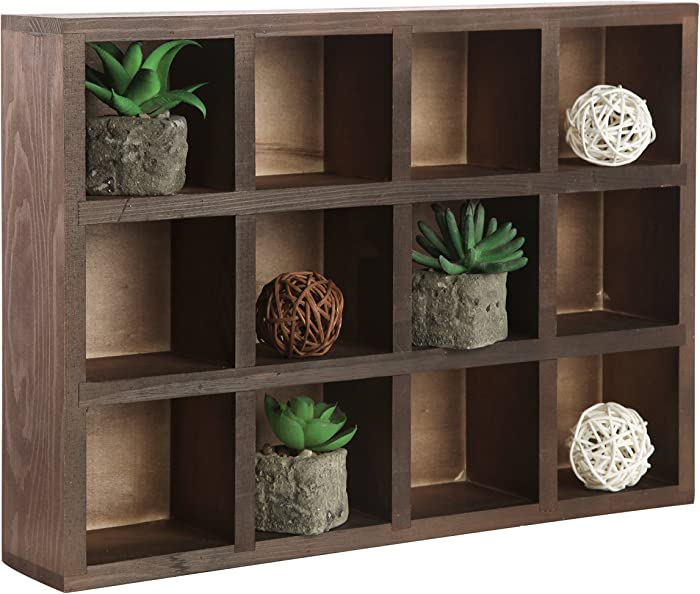MyGift 12 Compartment Brown Wood Freestanding or Wall Mounted Shadow Box, Display Shelf Shelving Unit