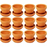Juvale Small Terra Cotta Pots with Saucer- 12-Pack Clay Flower Pots with Saucers, Mini Flower Pot Planters for Indoor…
