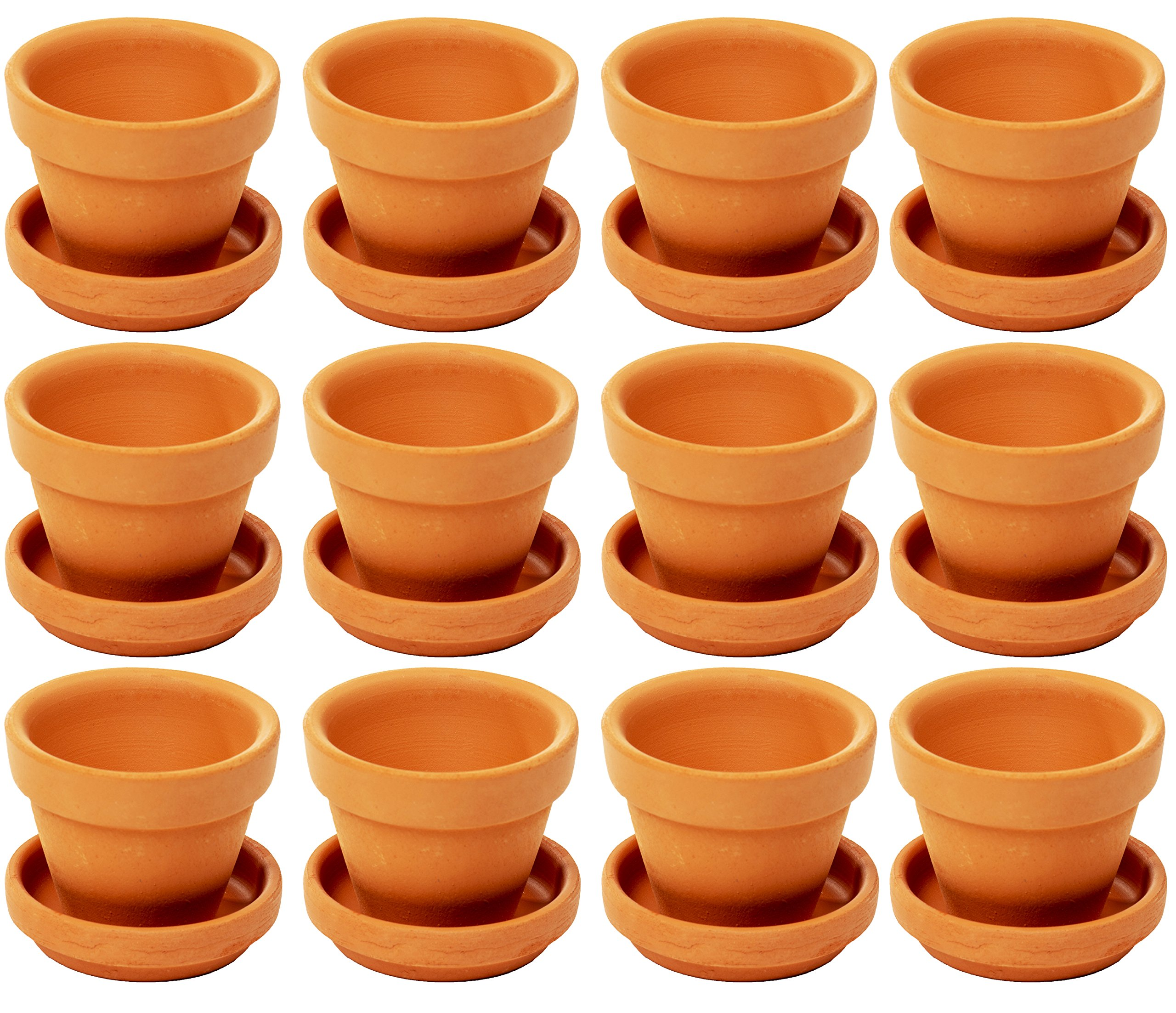Small Terra Cotta Pots with Saucer- 12-Pack Clay Flower Pots with Saucers, Mini Flower Pot Planters for Indoor, Outdoor Plant, Succulent Display, Brown - 2.7 x 2.5 inches