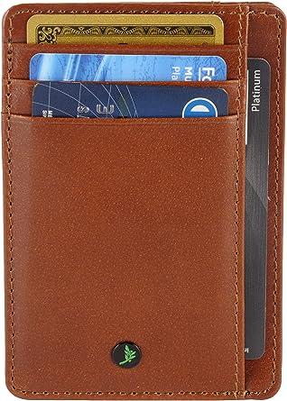 AULIV rfid bloqueo bolsillo delantero de lujo tarjeta de caja del cuero: Amazon.es: Ropa y accesorios