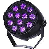 SStechi Stage Light ,3W 12PCS Leds Sound Actived Auto DMX512 UV Strobe Par Lights For Disco DJ PUB KTV Party Xmas Bar Show Club (Black)
