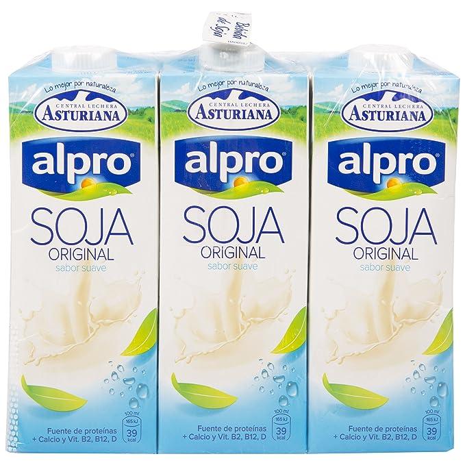 Alpro Central Lechera Asturiana Bebida de Soja Original - Paquete de 6 x 1000 ml -