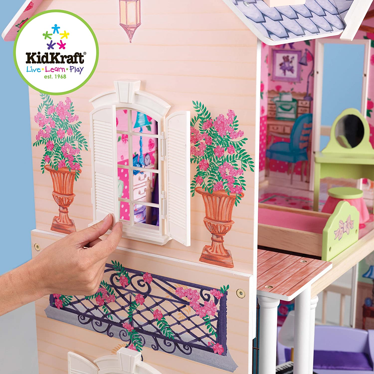 mazon.com: KidKraft My Dreamy Dollhouse with Furniture: oys & Games - ^