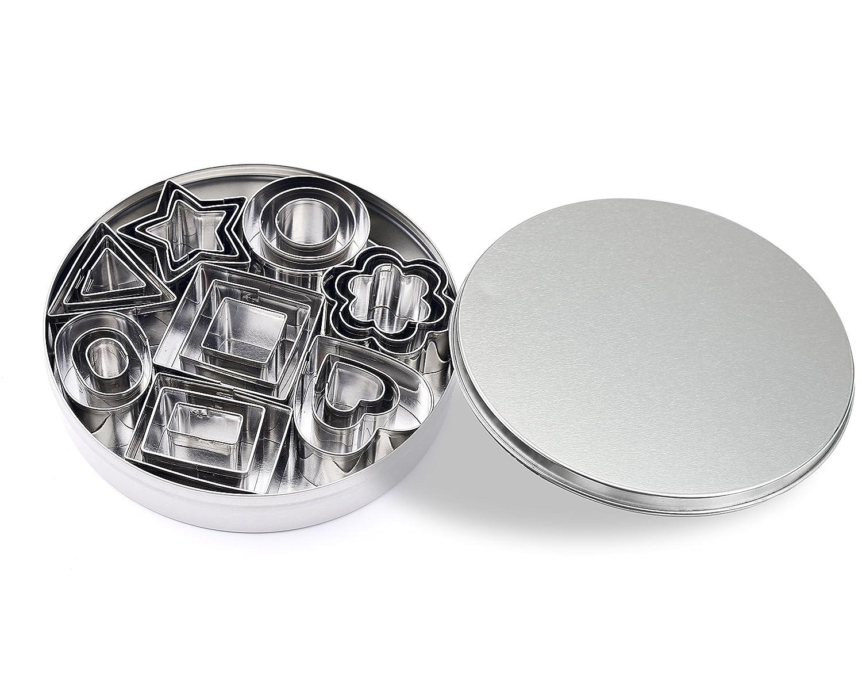 ShengHai Mini Cookie Cutter set – 24 Pieces Metal Fondant Cutters – 3 Hearts Shape, 3 Stars Shape, 3 Flowers Shape and 15 Geometric Shape