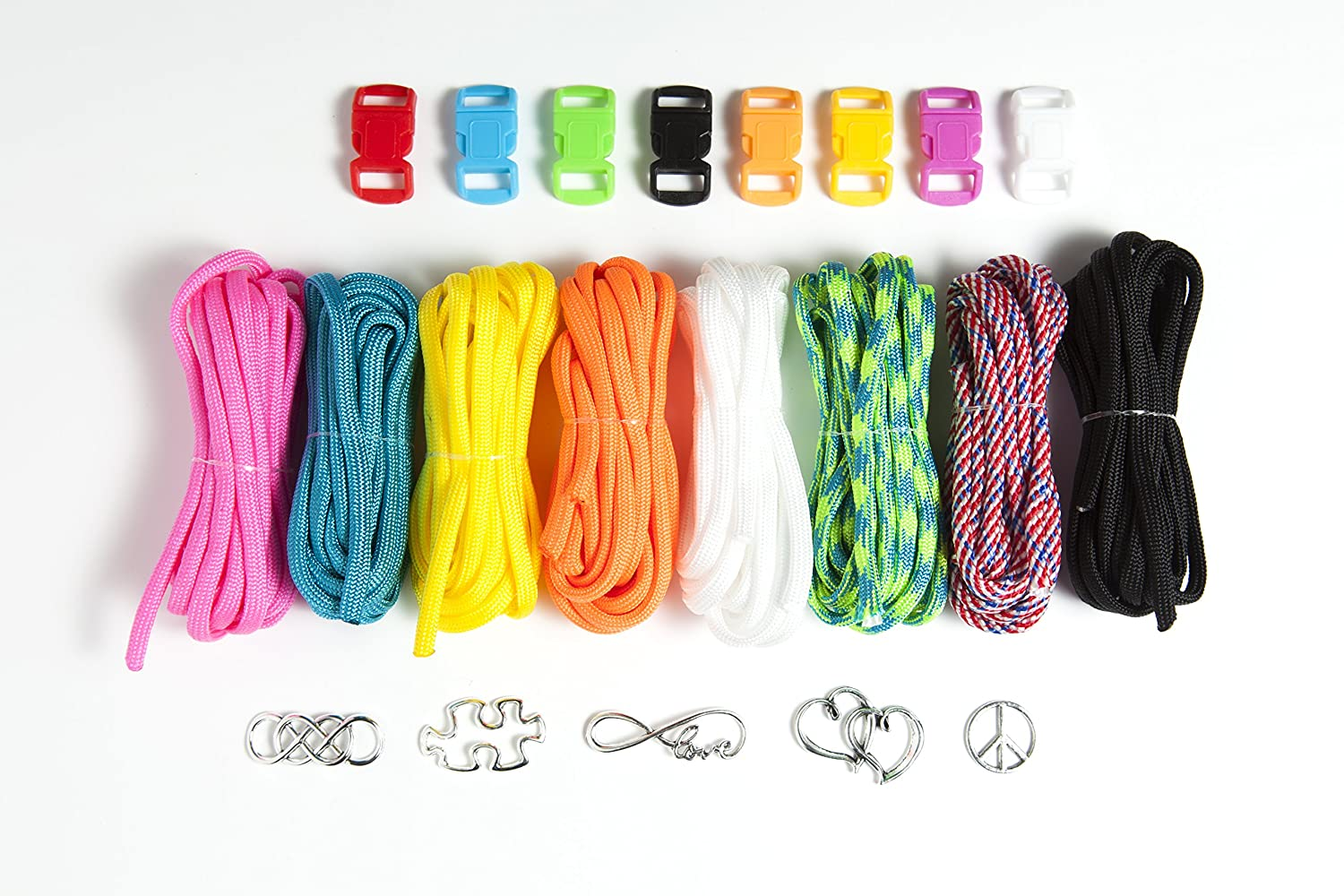 Camps /& Art Projects Parties Teens /& Children Paracord Charm Bracelet Making Set: Pinwheel Crafts DIY Bracelets Kit for Girls Make Your Own Personalized Friendship /& Fashion Jewelry for Birthdays