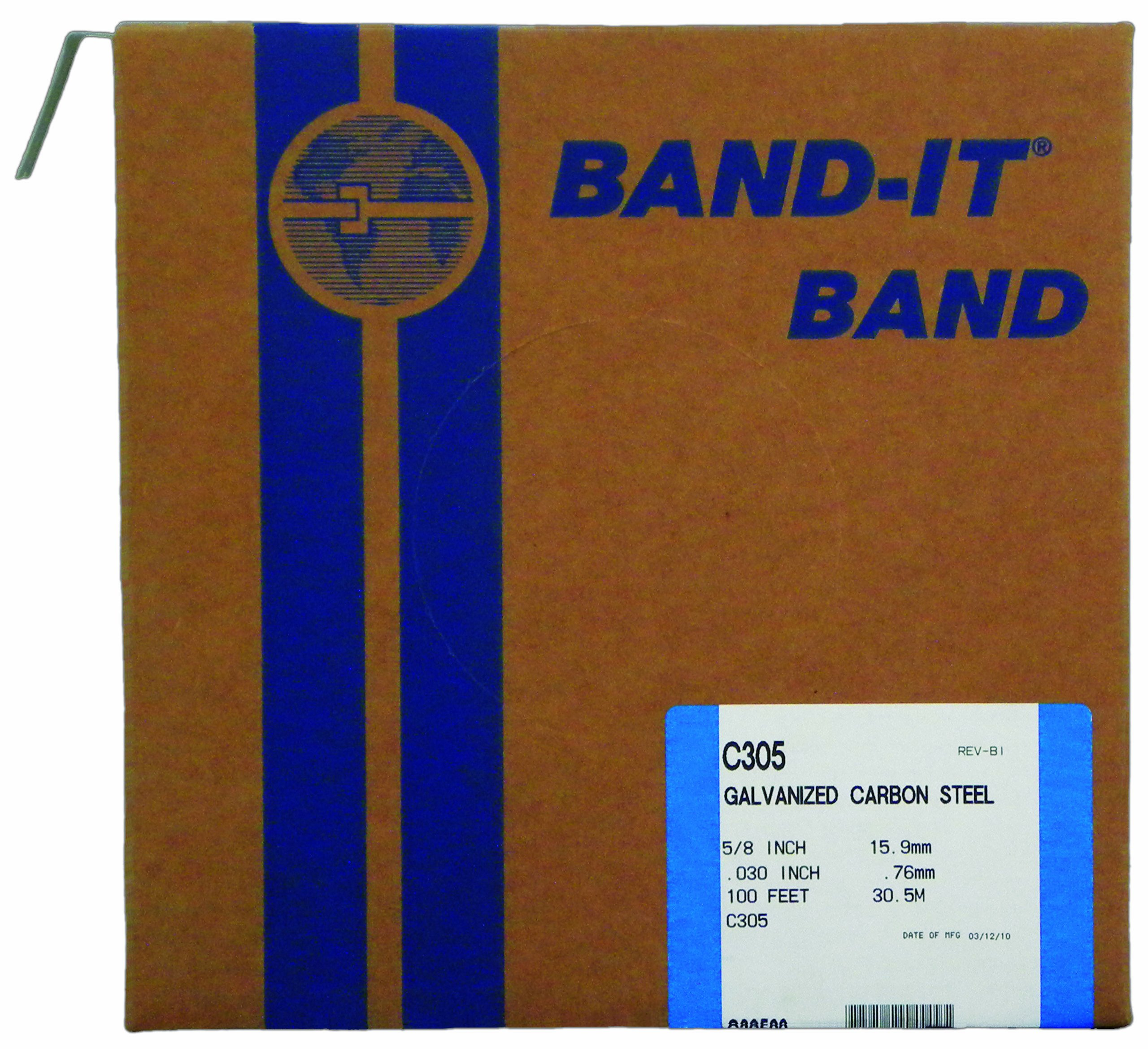 BAND-IT C30599 Galvanized Carbon Steel Band, 5/8'' Width X 0.030'' Thick, 100 Feet Roll by Band-It