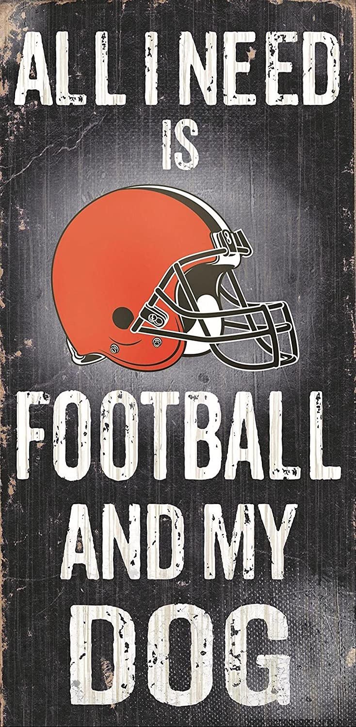 Fan Creations NFL Football and Dog Wood Sign