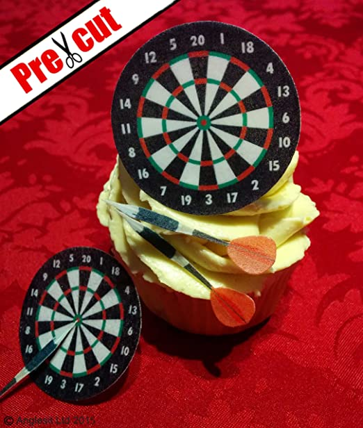 Pre Cut Dartboard Darts Edible Rice Wafer Paper Cup Cake Toppers