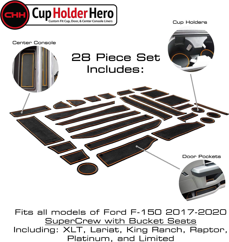 CupHolderHero for Ford F-150 Accessories 2017-2020 Premium Custom Interior Non-Slip Anti Dust Center Console Organizer Tray with Liner Mats Orange Trim Bucket Seat 5-pc Set
