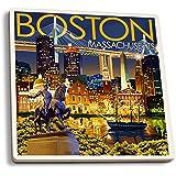 Boston, Massachusetts - Skyline at Night (Set of 4 Ceramic Coasters - Cork-backed, Absorbent)