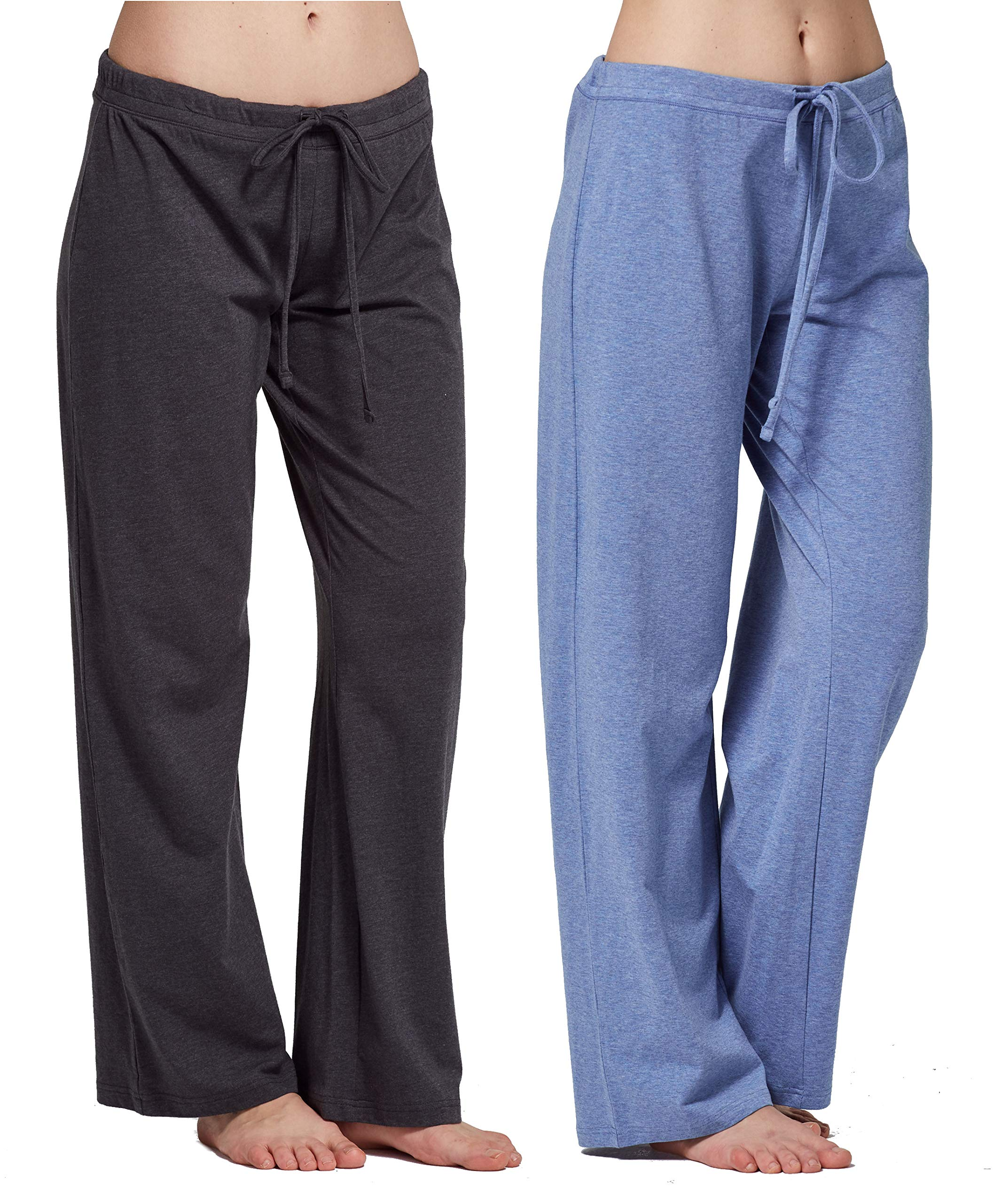 CYZ Women's Casual Stretch Cotton Pajama Pants Simple Lounge Pants-CharcoalBlueMelange2PK-XL