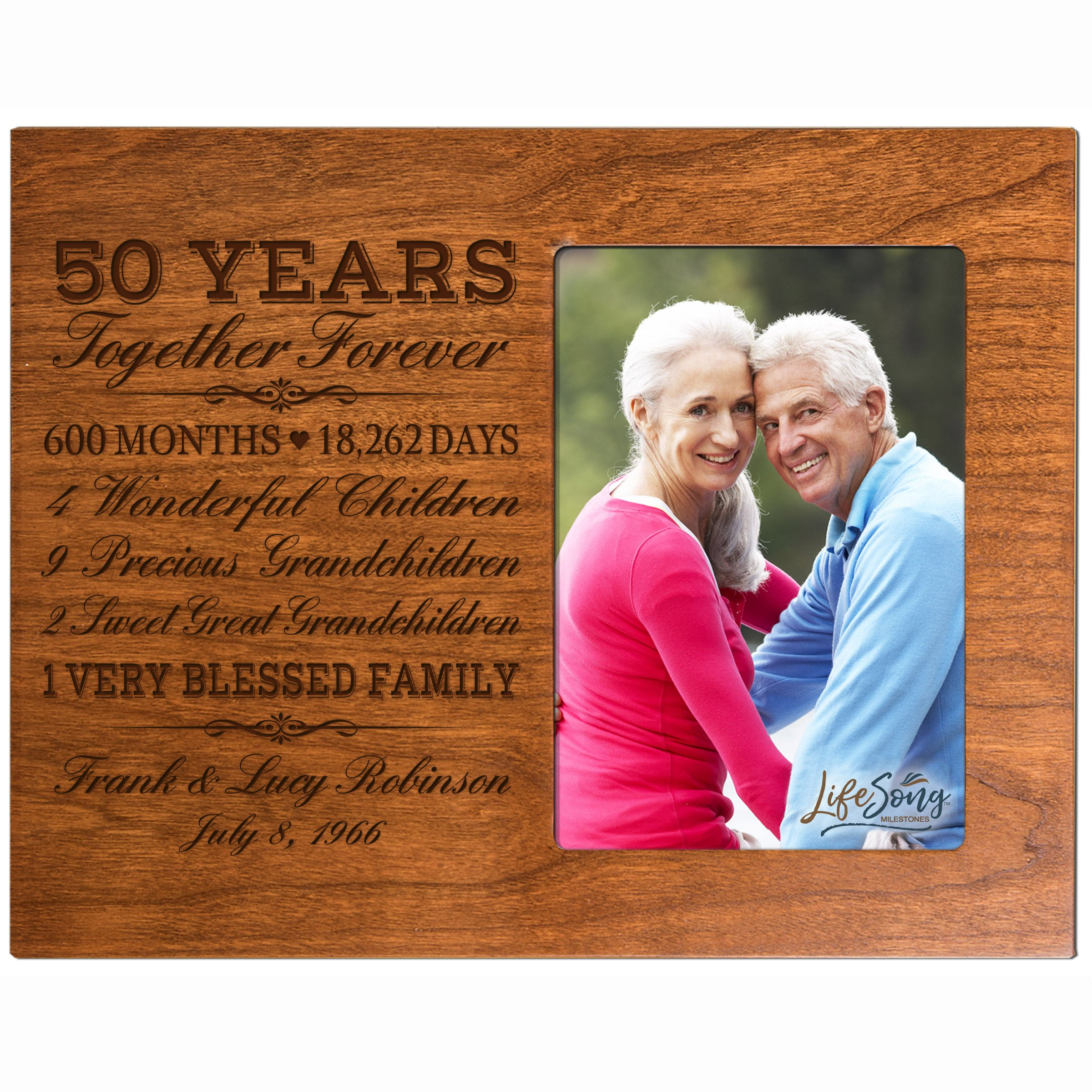 LifeSong Milestones Personalized Fifty Year for her him Couple Custom Engraved Wedding Gift for Husband Wife Girlfriend Boyfriend Photo Frame Holds 4x6 Photo (Cherry)