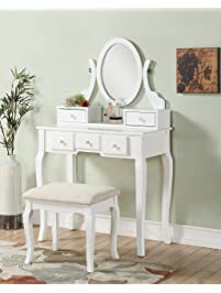 chairs for makeup vanity. Roundhill Furniture Ashley Wood Make Up Vanity  Vanities Benches Amazon com