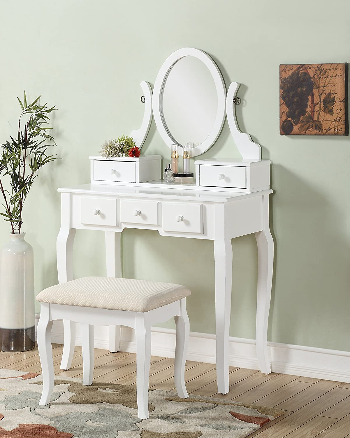 Amazon.com: Roundhill Furniture Ashley Wood Make Up Vanity Table And Stool  Set, White: Kitchen U0026 Dining