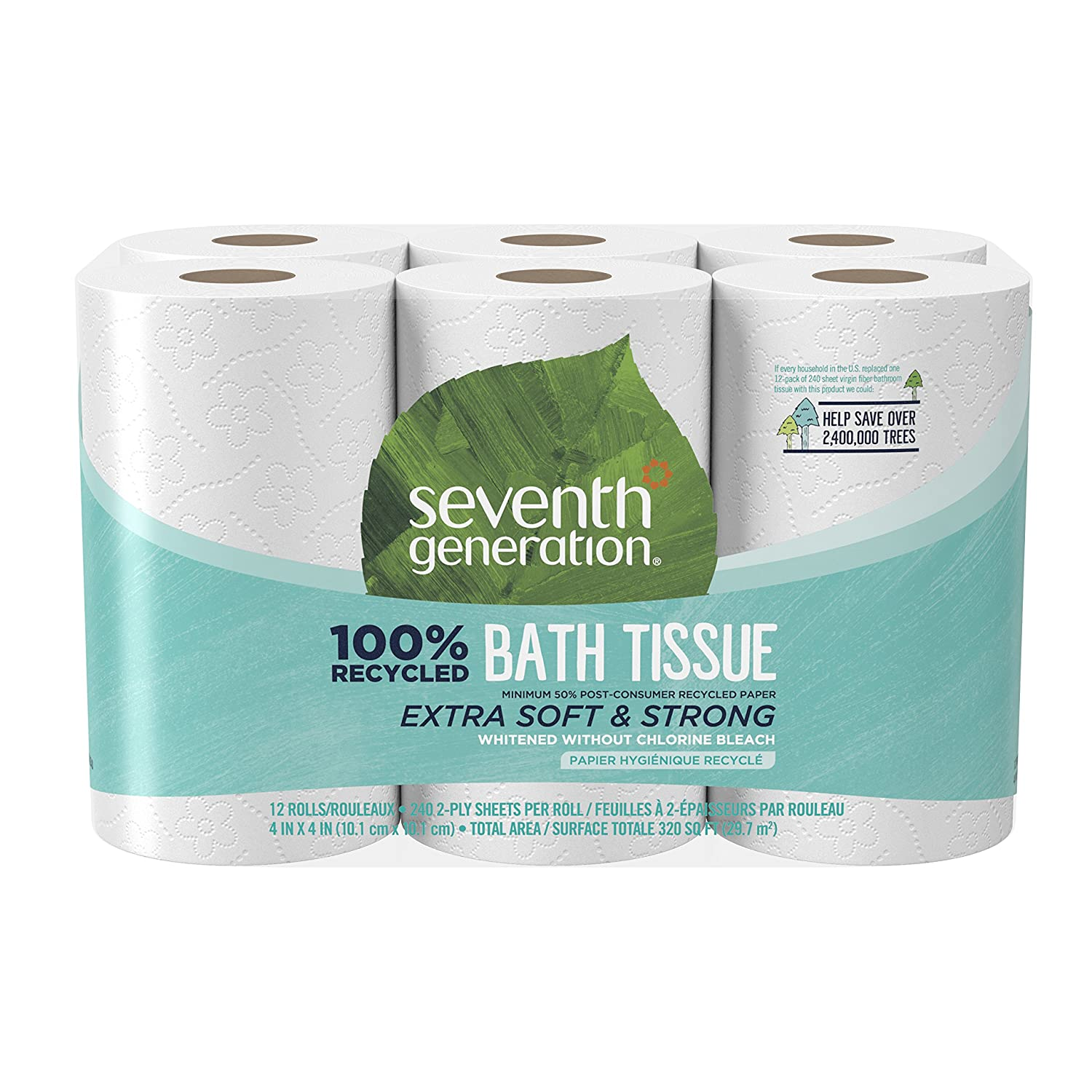 Amazon.com: Seventh Generation Toilet Paper, Bath Tissue, 100 ...