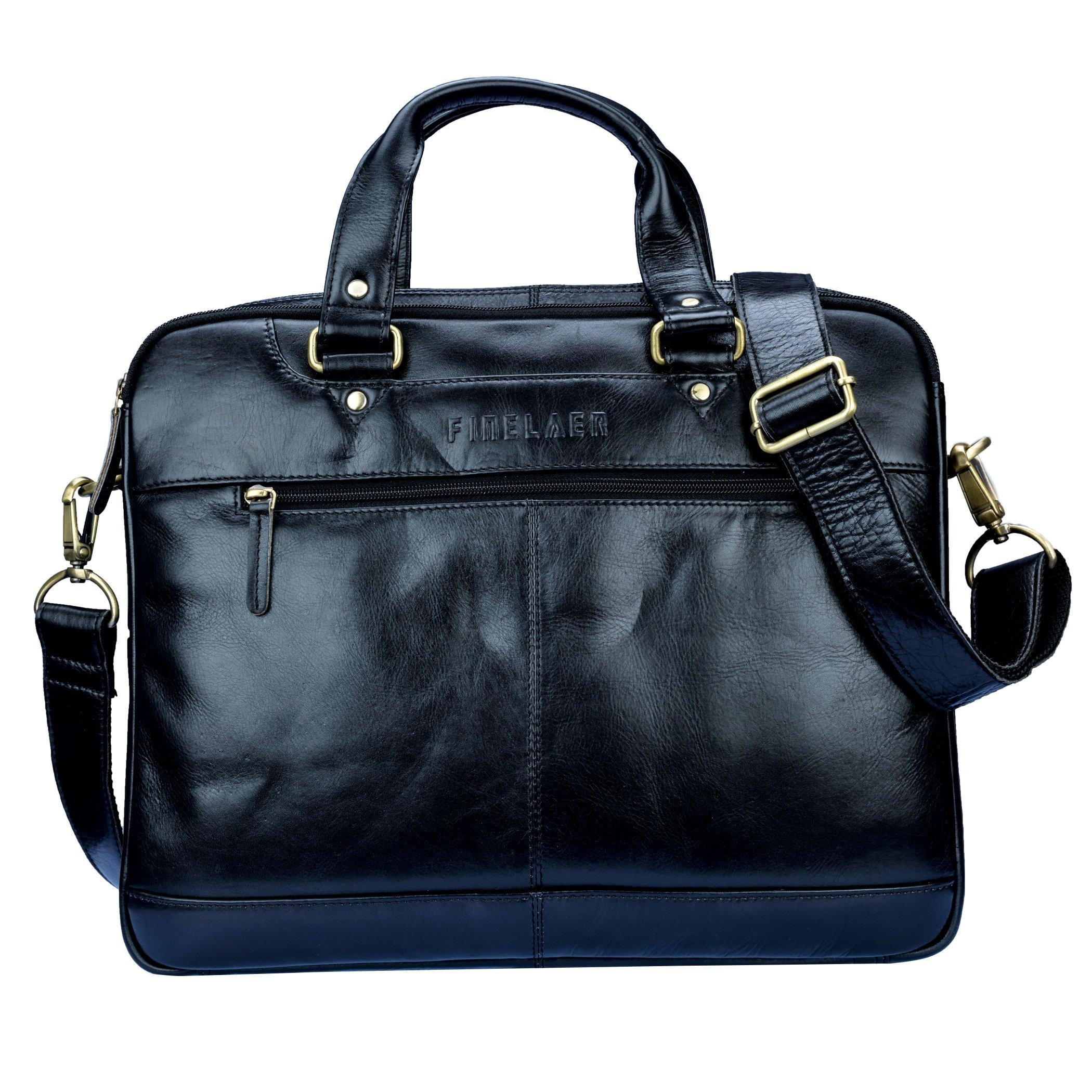 Finelaer Leather Laptop Computer Messenger Zipper Bag Black with Trolley Sleeve for Men Women