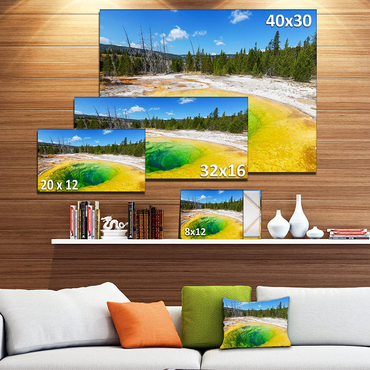 Morning Glory Pool Close Up Landscape Photography Canvas Print Amazon In Home Kitchen
