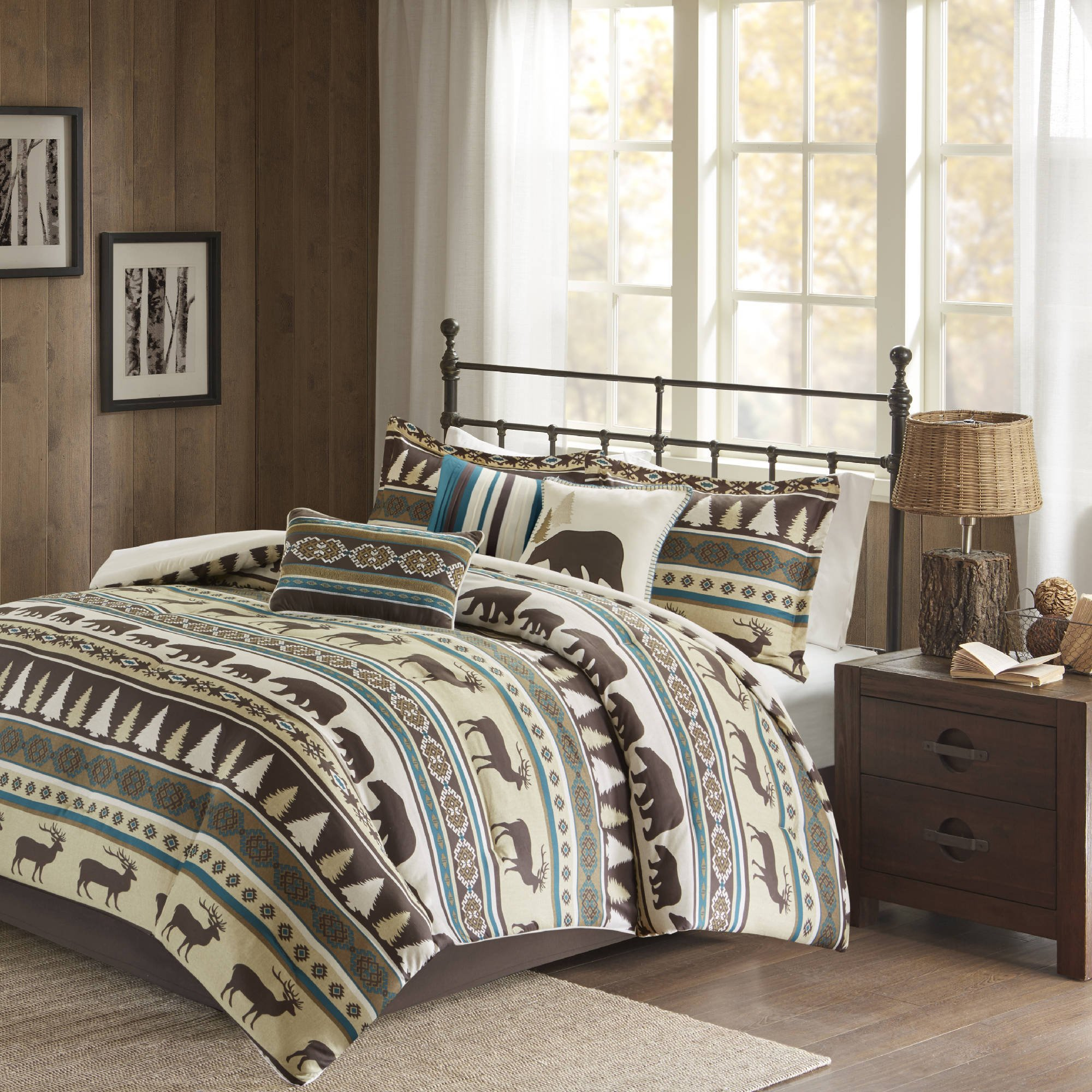 7 Piece Teal Blue White Brown Deer Pattern Comforter Queen Set, Hunting Bedding Bear Themed Cabin Lodge Elk Southwest Warm Cozy Overfilled Animal Print Montana Pine Trees Butte, Polyester