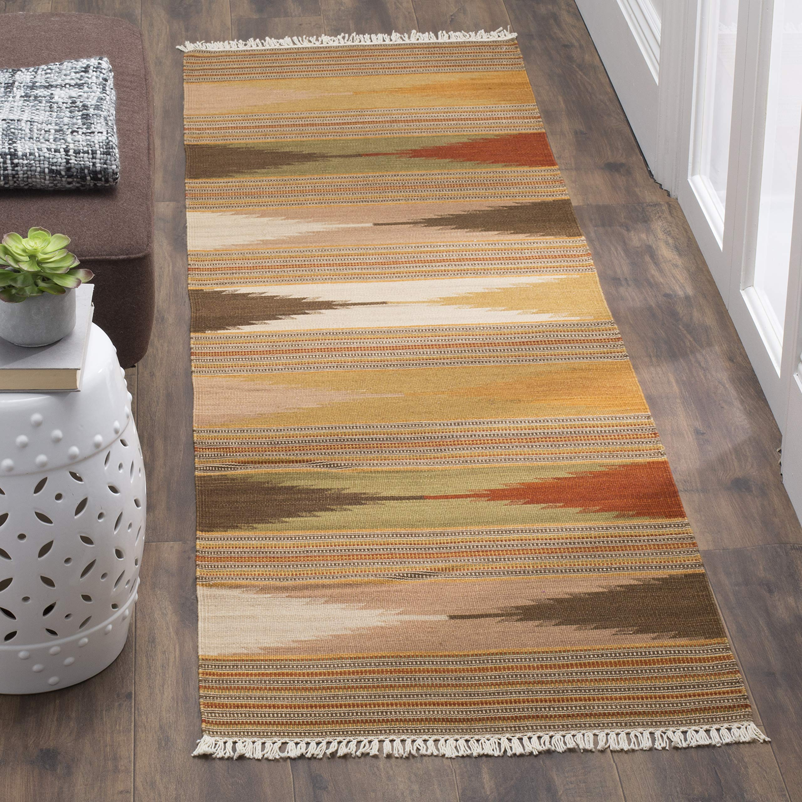 Safavieh Navajo Kilim Collection NVK175A Hand-Woven Natural and Multi Flatweave Wool Runner (2'3'' x 10')