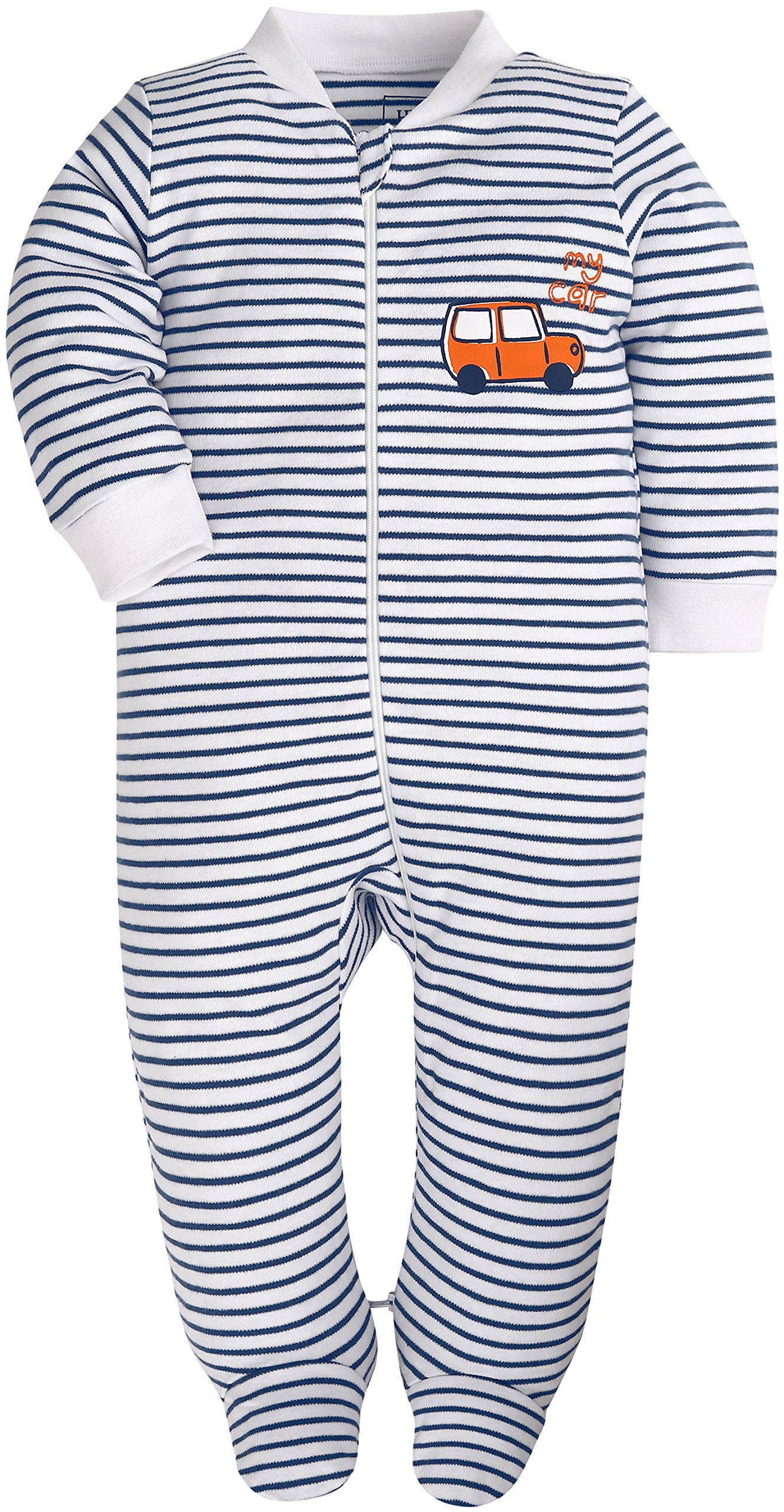 Baby Boys'2 Pack Footed Sleeper Yarn-Dyed Striped Baby Pajamas Set (Blue Dog/Grey Car, 18-24 Months) by SHENGWEN (Image #3)