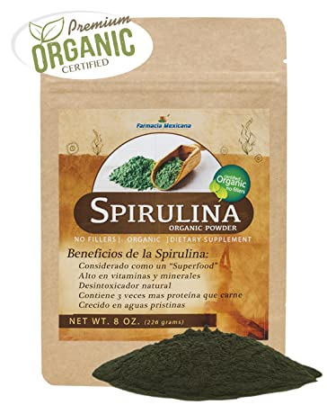 Spirulina Powder Certified Organic - 8 Oz - No Fillers, Non-Irridated, and