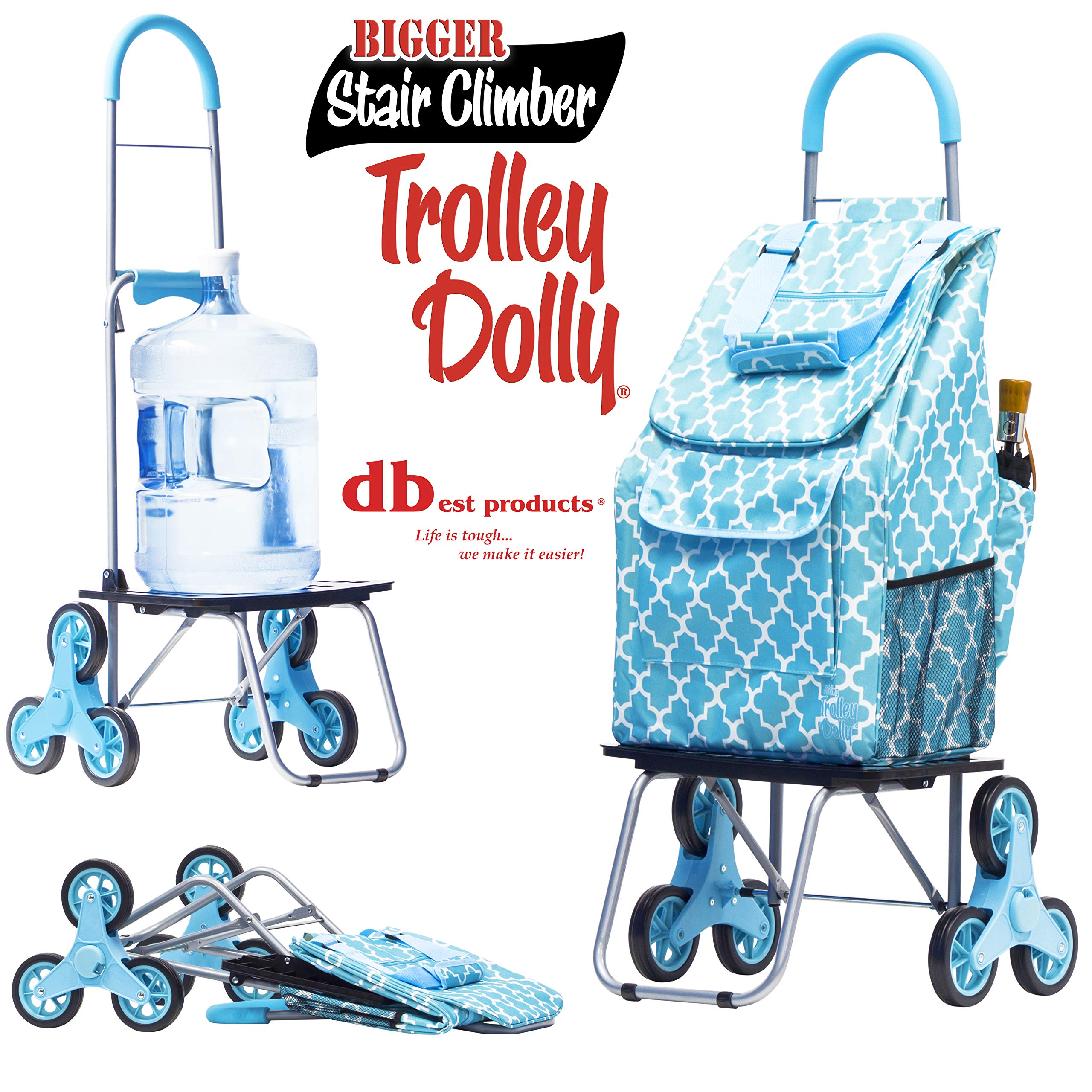 dbest products Stair Climber Bigger Trolley Dolly, Moroccan Tile  Shopping Grocery Foldable Cart Condo Apartment Grocery Foldable Cart Condo Apartment