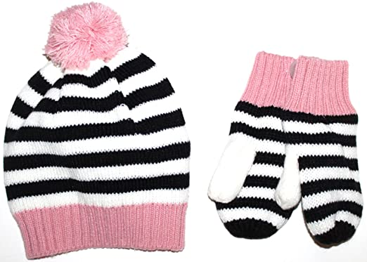 50ab212ee75 Baby Gap Toddler Preschool Girls Black Pink Striped Sweater Hat w Mittens (S