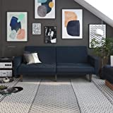 DHP Paxson Convertible Futon Couch Bed with Linen Upholstery and Wood Legs - Navy Blue