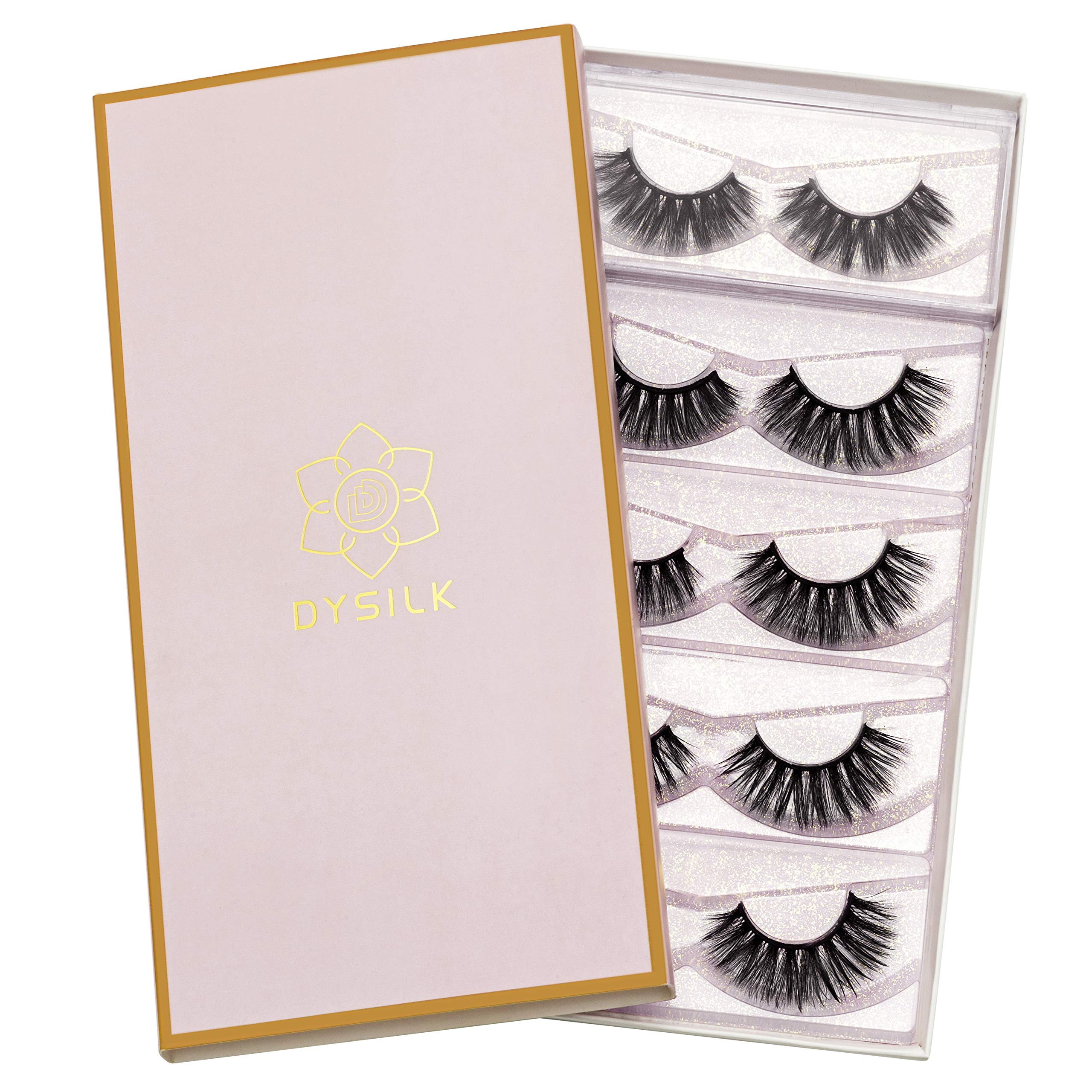 DYSILK 5 Pairs 3D Fake Eyelashes Fluffy False Eyelashes Dramatic Look Eyelashes Handmade Extension Thick Long Reusable Soft Lashes Makeup Black