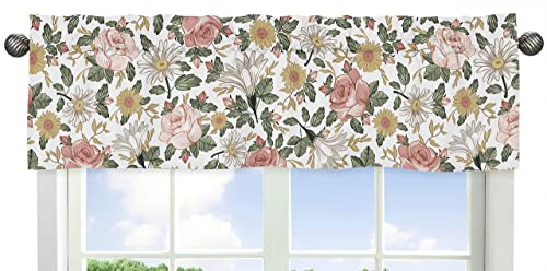 Sweet Jojo Designs Vintage Floral Boho Window Treatment Valance – Blush Pink, Yellow, Green and White Shabby Chic Rose Flower Farmhouse
