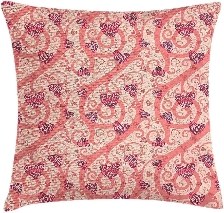 Funda de cojín romántica para cojín, flores, corazones, celebración de San Valentín, cumpleaños, amantes, ramas de Twiggy, funda de almohada decorativa cuadrada decorativa, 45x45 cm, coral rosa mel