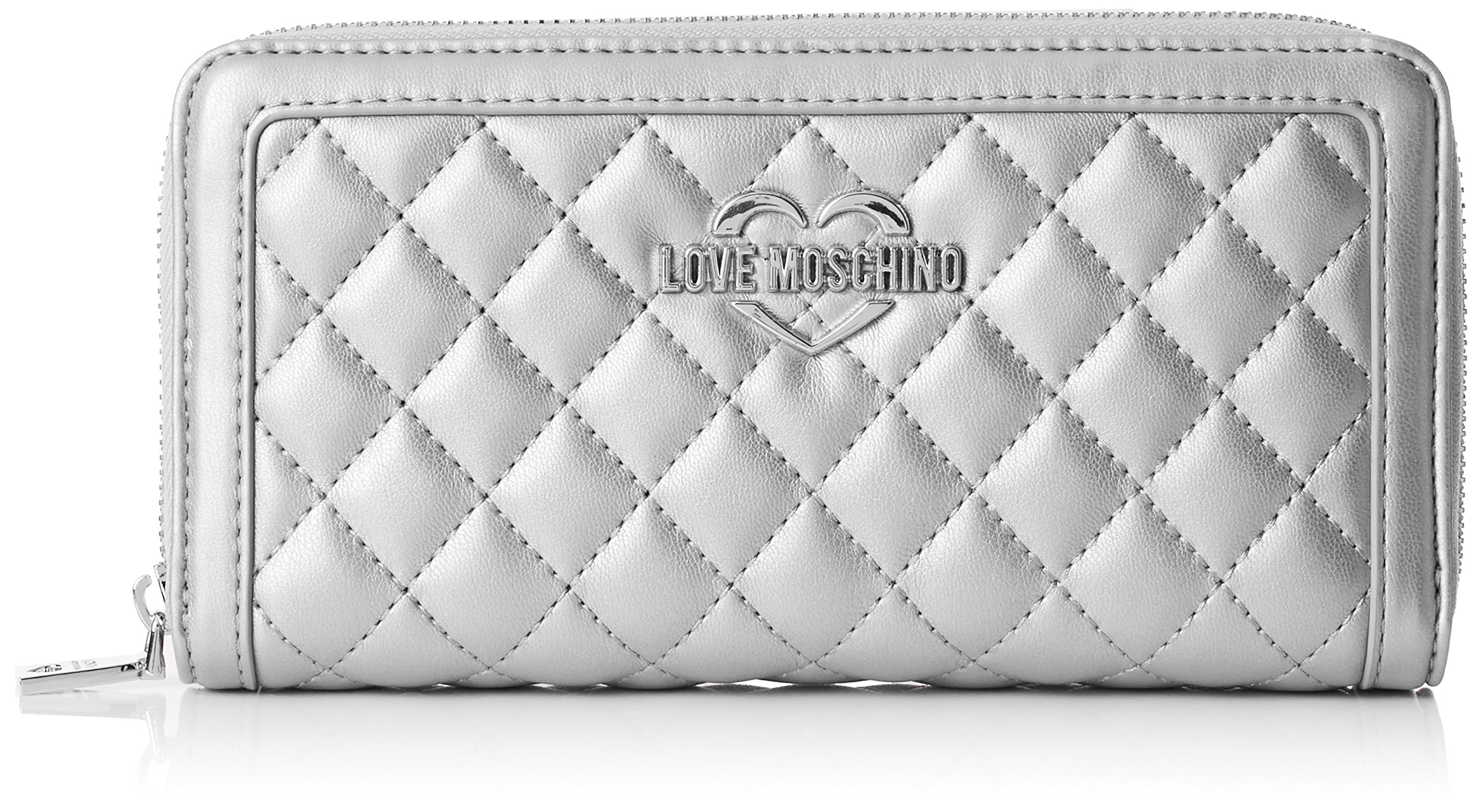 Love Moschino Portaf.quilted Metallic Pu Argento, Women's Clutch, Silver, 3x10x20 cm (B x H T)