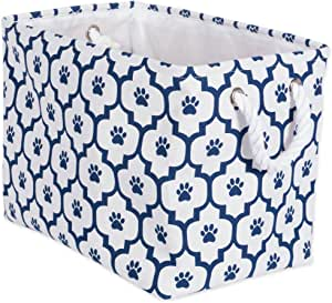 """DII Bone Dry Medium Rectangle Pet Toy and Accessory Storage Bin, 16x10x12"""", Collapsible Organizer Storage Basket for Home Décor, Pet Toy, Blankets, Leashes and Food-Navy Lattice Paw Print"""