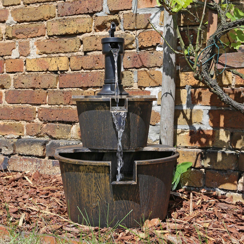 holz design springbrunnen dsb1 für balkon terrasse garten ... - Brunnen Garten Holz